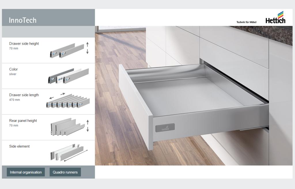 Hettich InnoTech sahtlisüsteemide konfiguraator