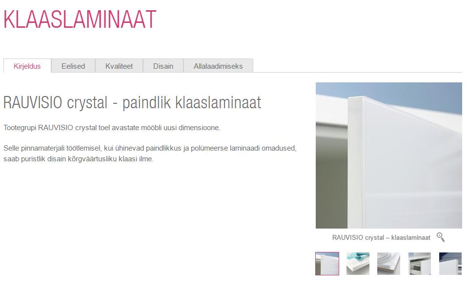 Rehau Rauvisio Crystal klaaslaminaat-ja plaat (kõrgläige, matt, peegel)